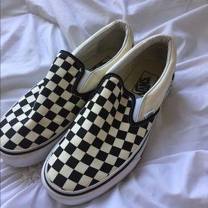 Brand New White Checkered Vans